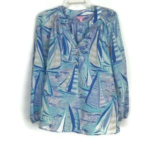 Lilly Pulitzer Womens Shirt Small Blue 100% Silk